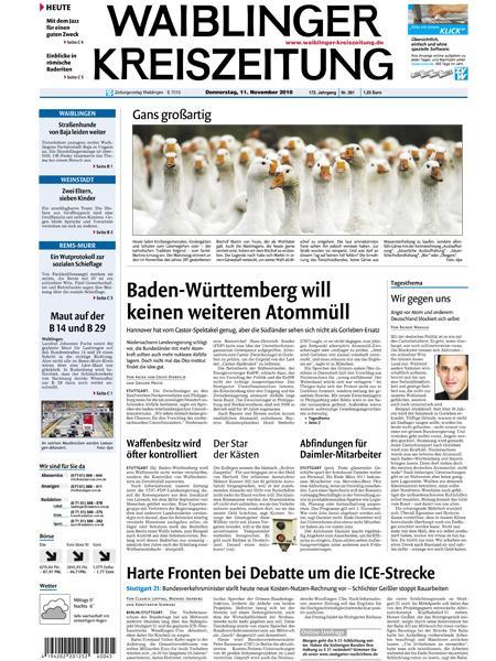 Waiblinger Kreiszeitung gratis probelesen