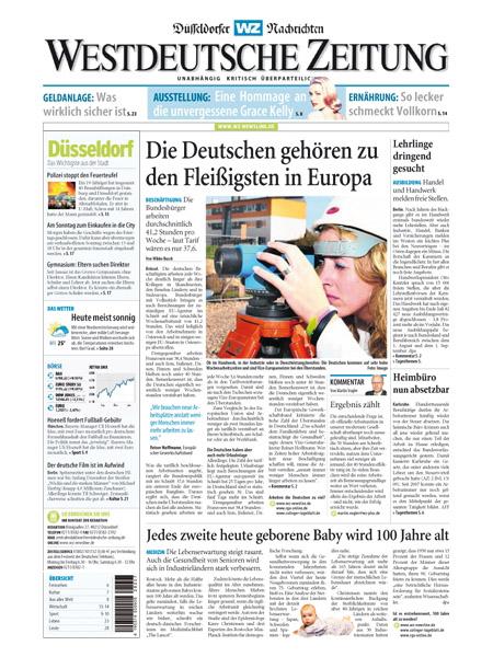 Westdeutsche Zeitung - Düsseldorfer Nachrichten gratis probelesen