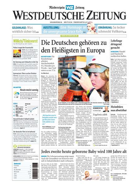 Westdeutsche Zeitung - Niederrhein Zeitung gratis probelesen